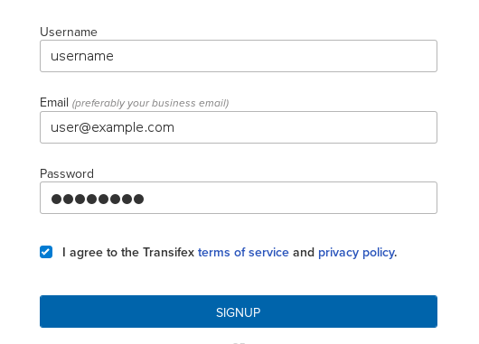 Sign up to Transifex